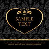 Golden label heart on damask black background — Stock Vector