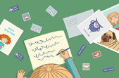 Blonde girl writes a letter — Vector de stock