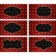 Set of vintage golden labels with red damask background — 图库矢量图片