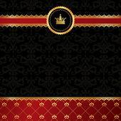 Vintage black background with golden ornamental ribbon, red dama — Stock Vector