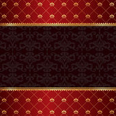 Vintage luxury red damask background with frame of golden elemen — Stockvector