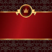 Vintage red background with frame of golden elements and crown w — Stockvector