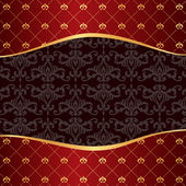 Vintage red background with frame of golden elements and damask — Stockvector