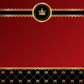 Vintage red background with golden ornamental ribbon, damask and — Stockvector