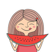 Happy girl eats sweet watermelon — Stock Vector
