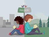 Multicultural girl and boy read mail — Vector de stock
