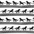 Stock Vector: Seamless pattern with horses