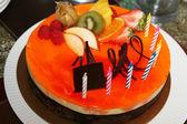 Vanilla and chocolate mousse birthday cake — Stock Photo