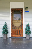 Old country door with 2 Christmas trees on each side — Stock Photo