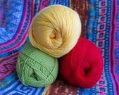 Three tangle of yarn for knitting. — Stock Photo
