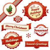 Seasonal Labels, Tags, and Banners for Christmas Holidays — Stock Vector
