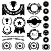 Award, Competition, and Rank Silhouette Element Vector Set — Stock Vector