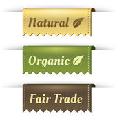 Stylish Tag Labels for Natural, Organic, and Fair Trade — Vettoriale Stock