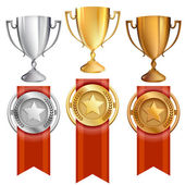 Vector Achievement Awards Set of Trophy and Ribbon Medals — Stockvector