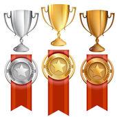 Vector conquista prêmios conjunto de medalhas de troféu e faixa de opções — Vetorial Stock