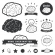 Vector Brain Badges and Label Collection — Stok Vektör #21149043