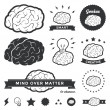 Vector Brain Badges and Label Collection — Stock Vector