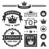 Premium Crown Badges & Vector Element Collection — Stok Vektör
