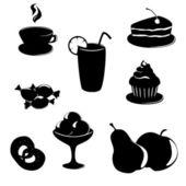 Ensemble d'icônes-noir nourriture et boisson dessert — Vecteur
