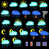 Set of vector weather forecast icons — Stock Vector