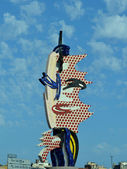 Barcelona Head - A sculpture by Roy Lichtenstein for the 1992 games in Barcelona — Stock Photo