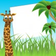 Photo framework. Funny giraffe on background of palm trees. The vector art image. — Vettoriali Stock