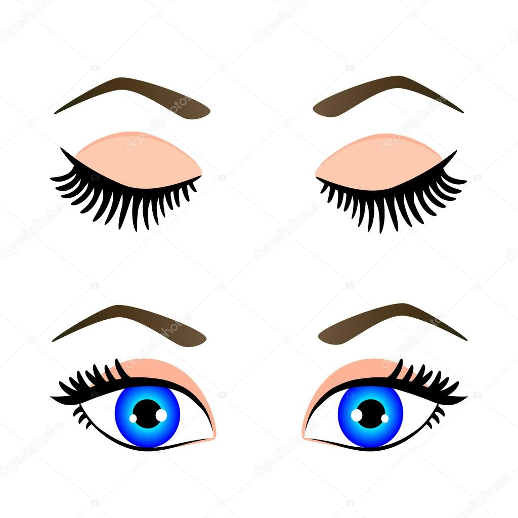 Download silhouette of blue eyes and eyebrow open and closed vector