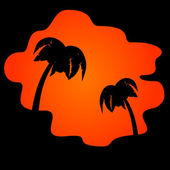 Icon palm trees and orange sunset — Stock Vector