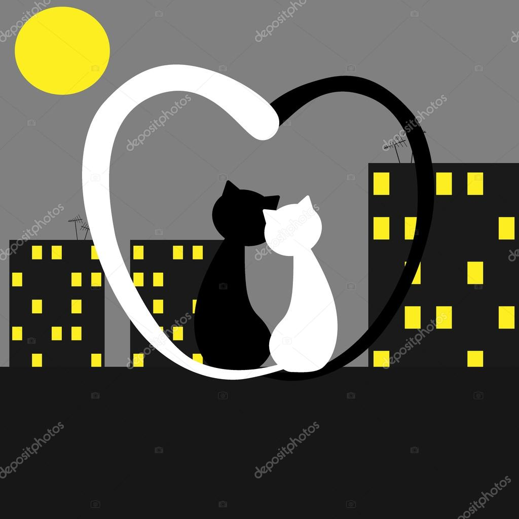 Couple of cats watching the moonlight. Valentines day. — Stock Vector #16885779