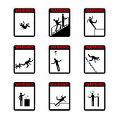 In action Warning Hazard Signs - set of isolated vector icons. — Stock Vector