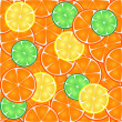 Stock Vector: Seamless pattern of citrus, orange, lemon, lime slices