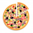 Vector pizza with sliced piece isolated on white background - Stock Vector