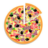 Vector pizza with sliced piece isolated on white background — Stock Vector