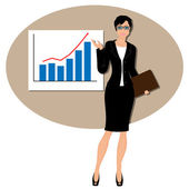 Beautiful business woman pointing to rising business trends — Stock Vector