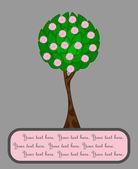 çerçeve metin, vektör çizim için soyut çiçekli ağaç — Stok Vektör