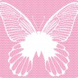 Wektor stockowy : White lace butterfly on pink background, vector