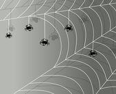 Grijze achtergrond met spinnen en spinnenweb. vectorillustratie met een plaats voor uw tekst — Stockvector