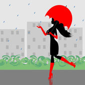 Fashionable girl walking down the street with an umbrella in his hand — Stock Vector