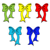 Set of colorful bows. Vector illustration — Stock Vector