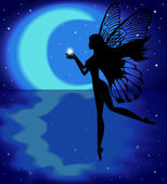 Silhouette fairy girl holding a star on a background with the moon — Stock Vector