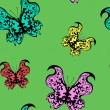 Stock Vector: Seamless pattern - colorful butterflies on green background, vector illustration