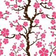 Seamless pattern with flowering branch of sakura, vector illustration — Stock Vector