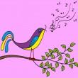 Stock Vector: Bird on branch singing songs, vector