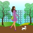 Pretty girl walking with a dog in the park — Stock Vector #27331659