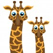 Two funny giraffe, vector illustration — Stock Vector
