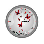 Beautiful wall clock with fluttering butterflies, vector illustration — Stock vektor