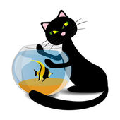 Black cat wants to catch the fish in the aquarium, vector illustration — Stock Vector