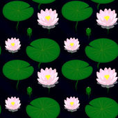 Seamless pattern - Evening pond with lilies, vector illustration — Stock Vector