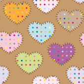 Seamless pattern - colorful patches hearts with dots — Stock Vector