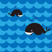Whale in the sea, vector illustration — Stock Vector